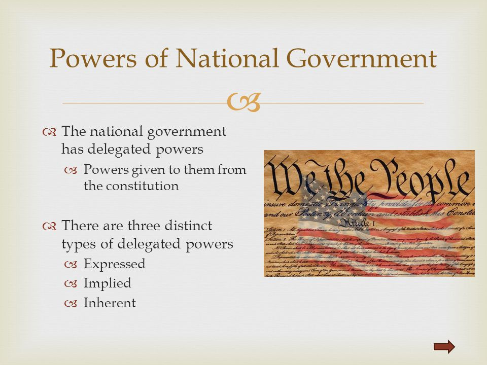 Powers of National Government