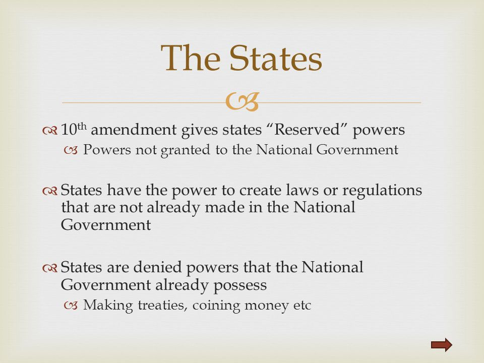 The States 10th amendment gives states Reserved powers