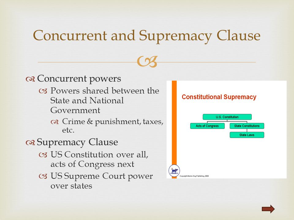 Concurrent and Supremacy Clause