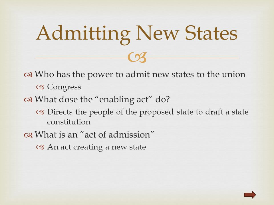 Admitting New States Who has the power to admit new states to the union. Congress. What dose the enabling act do