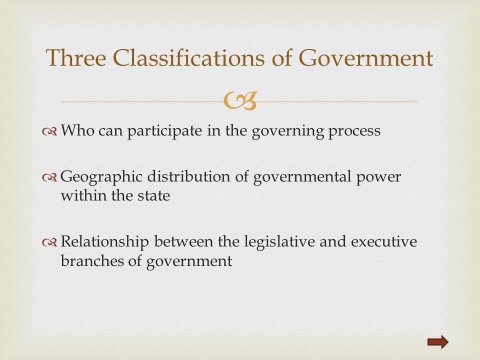Three Classifications of Government