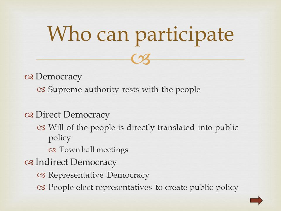 Who can participate Democracy Direct Democracy Indirect Democracy