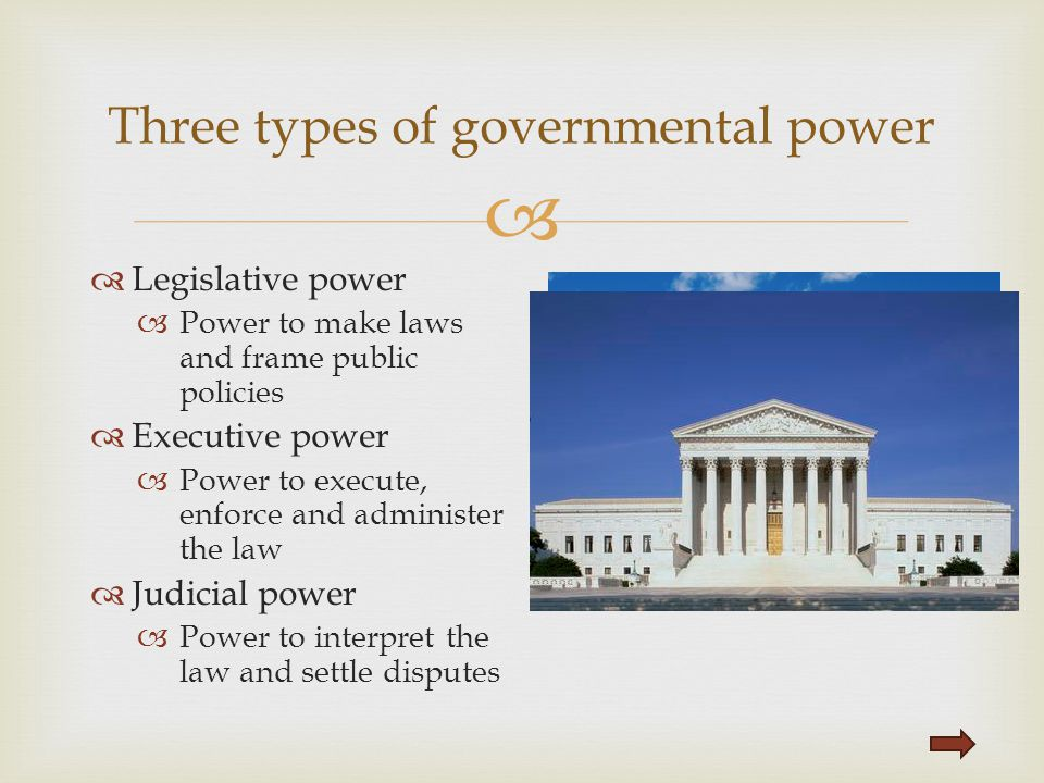 Three types of governmental power