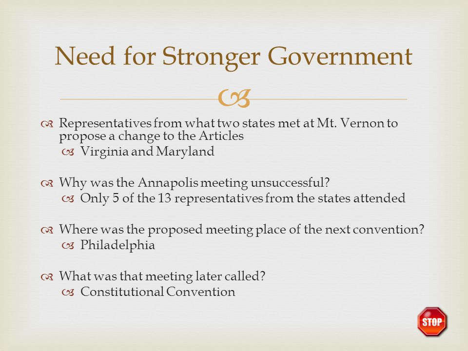 Need for Stronger Government