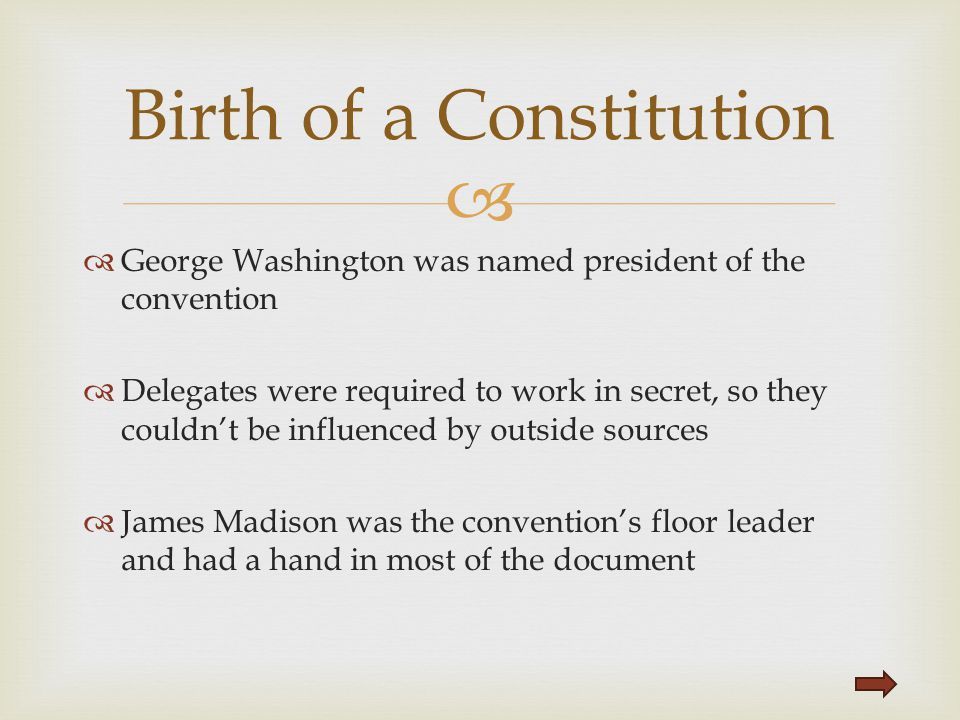 Birth of a Constitution