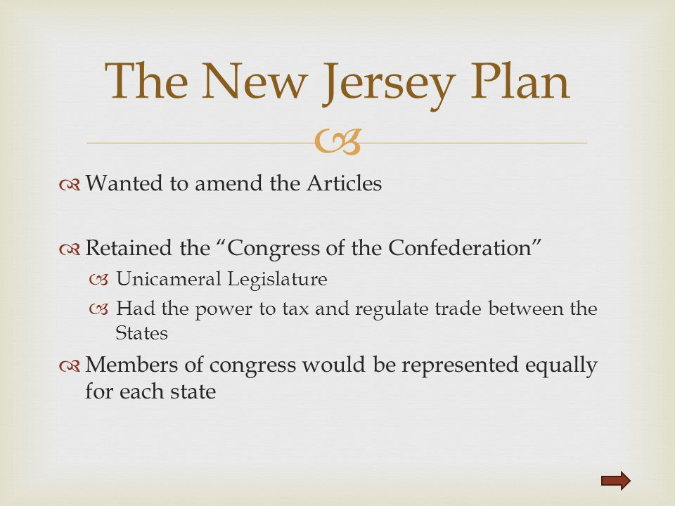The New Jersey Plan Wanted to amend the Articles