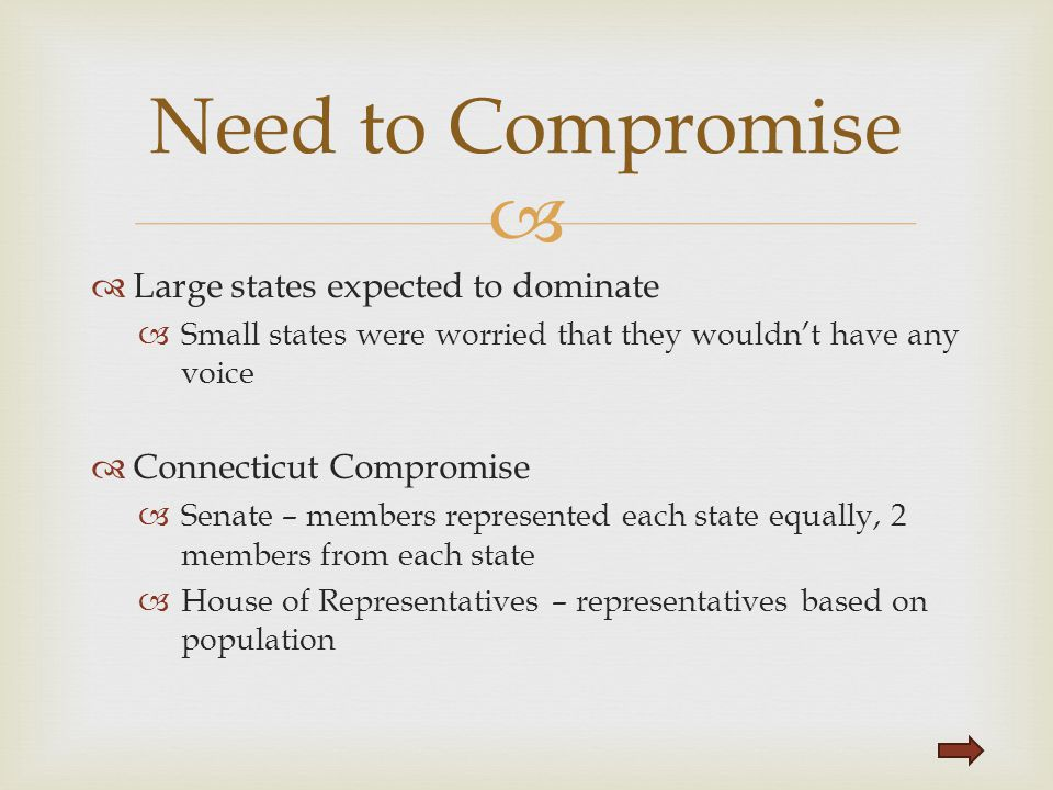 Need to Compromise Large states expected to dominate
