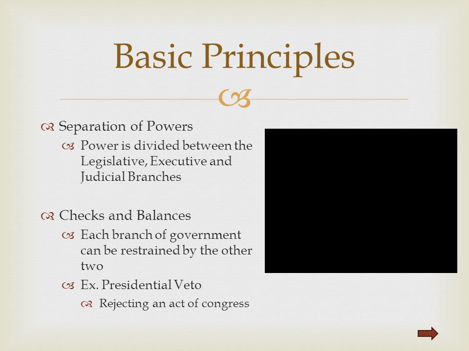 Basic Principles Separation of Powers Checks and Balances