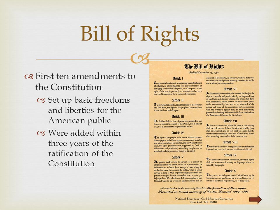 Bill of Rights First ten amendments to the Constitution