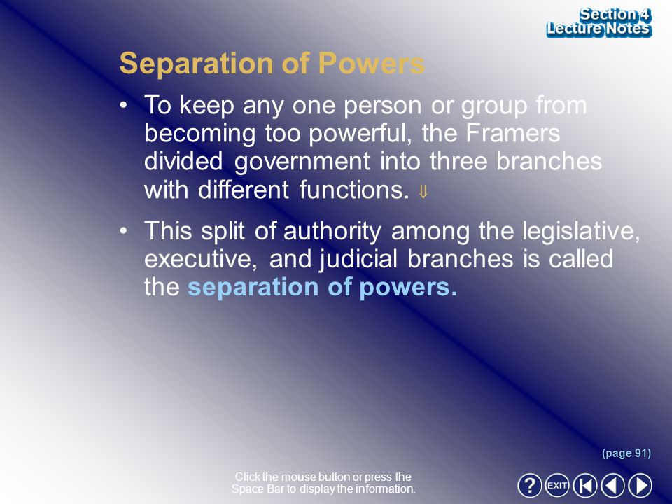 Section 4-9 Separation of Powers