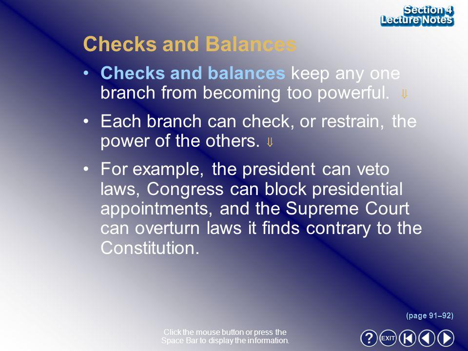 Section 4-11 Checks and Balances