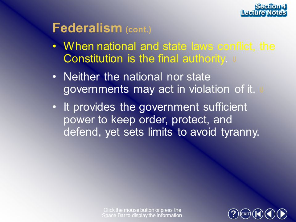 Section 4-14 Federalism (cont.)