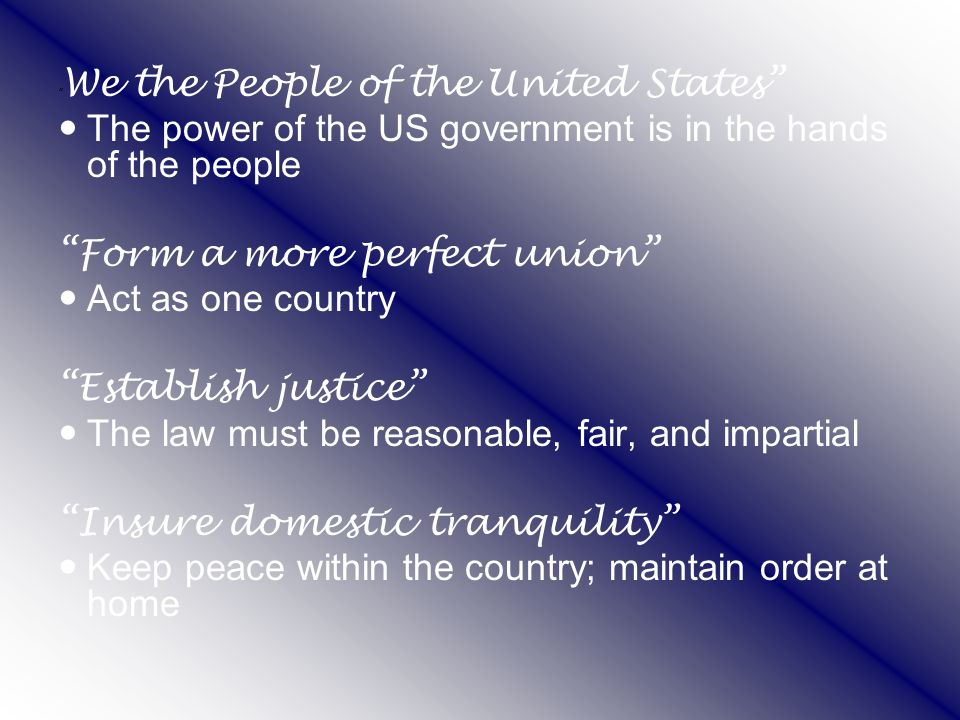 The power of the US government is in the hands of the people