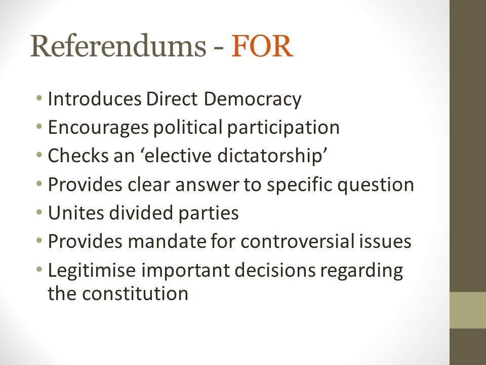 Referendums - FOR Introduces Direct Democracy