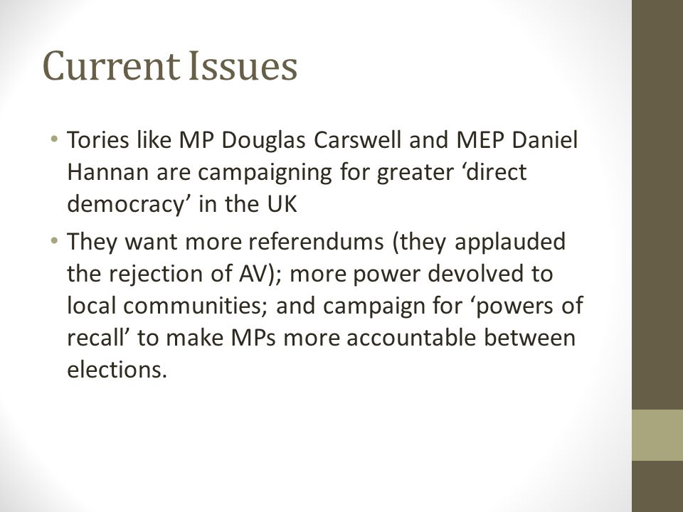 Current Issues Tories like MP Douglas Carswell and MEP Daniel Hannan are campaigning for greater 'direct democracy' in the UK.
