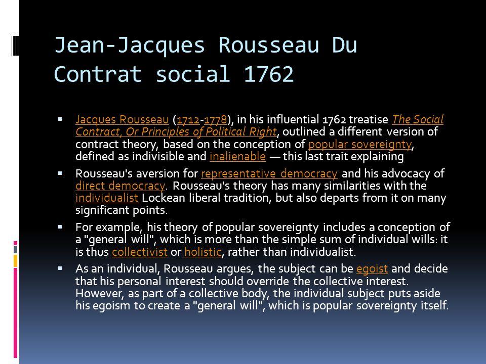 Jean-Jacques Rousseau Du Contrat social 1762