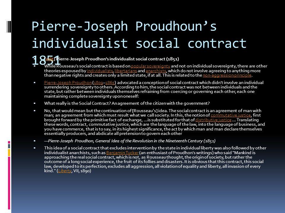 Pierre-Joseph Proudhoun's individualist social contract 1851