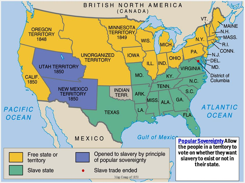 Popular Sovereignty Allow the people in a territory to vote on whether they want slavery to exist or not in their state.
