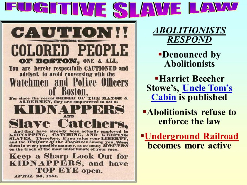 FUGITIVE SLAVE LAW ABOLITIONISTS RESPOND Denounced by Abolitionists