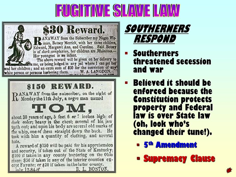 FUGITIVE SLAVE LAW SOUTHERNERS RESPOND Supremacy Clause