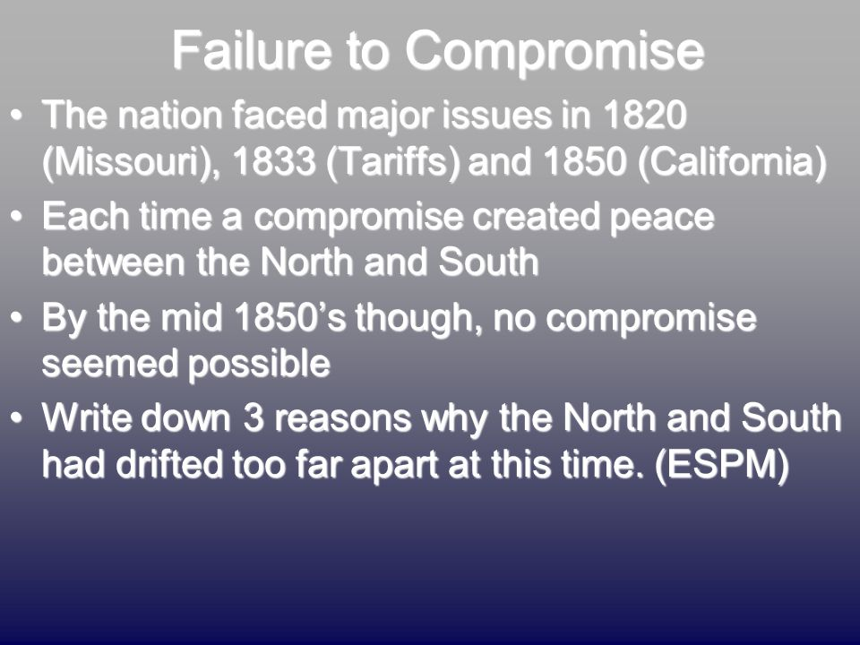 Failure to Compromise The nation faced major issues in 1820 (Missouri), 1833 (Tariffs) and 1850 (California)