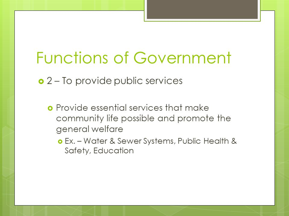 Functions of Government