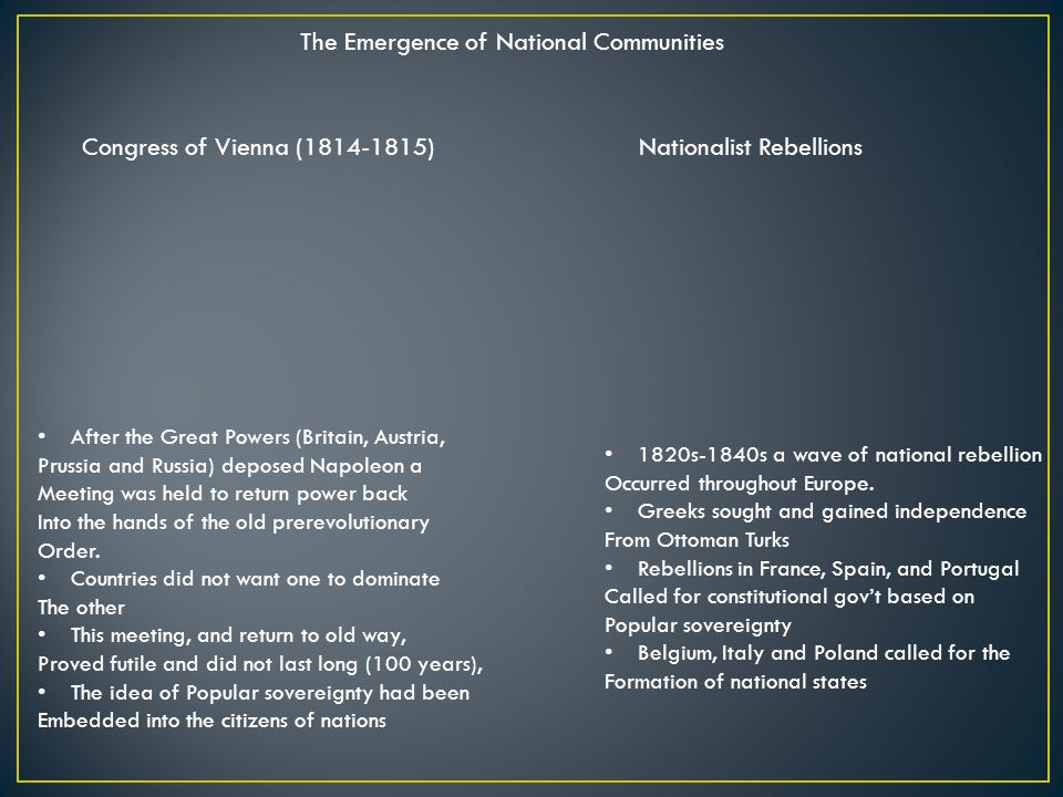 The Emergence of National Communities