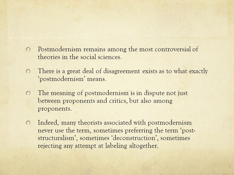 Postmodernism remains among the most controversial of theories in the social sciences.