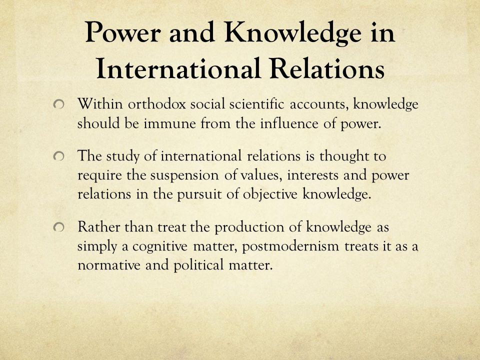 Power and Knowledge in International Relations