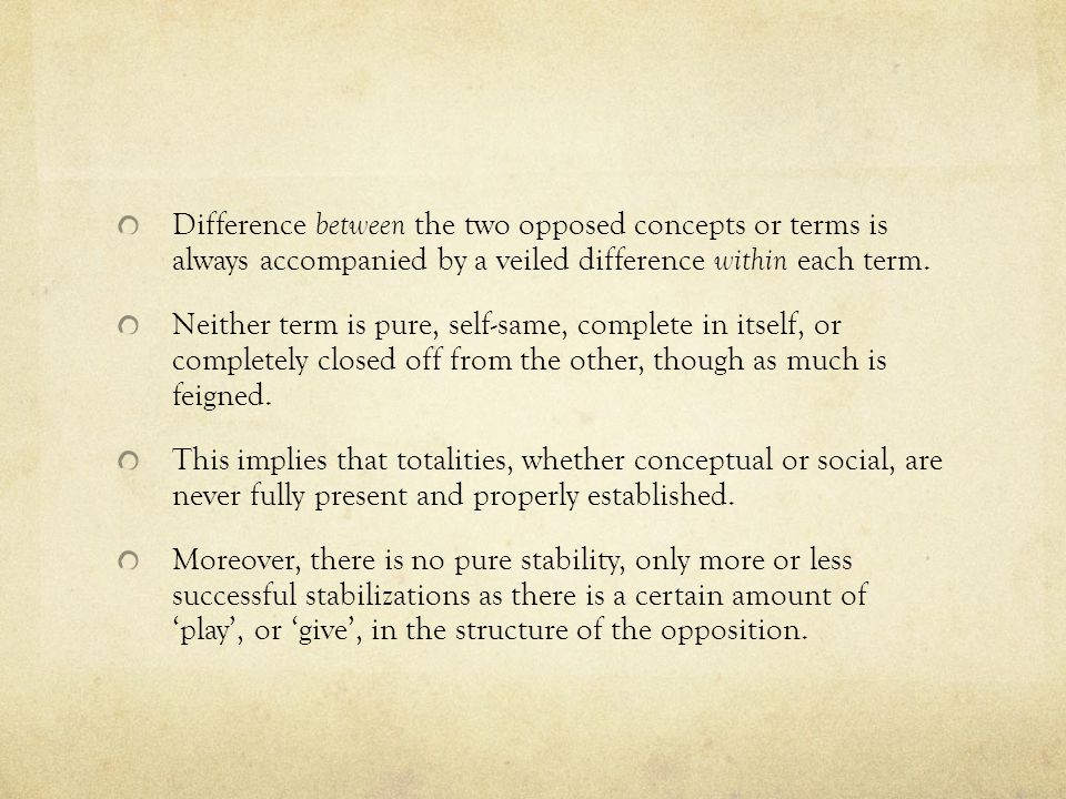 Difference between the two opposed concepts or terms is always accompanied by a veiled difference within each term.