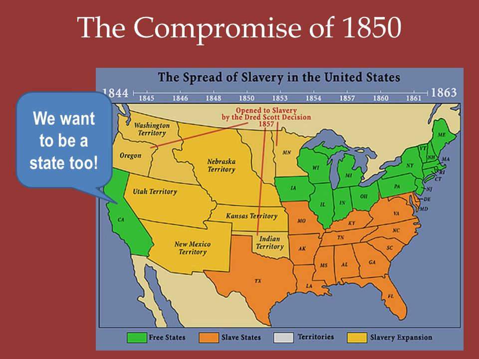 The Compromise of 1850 We want to be a state too!