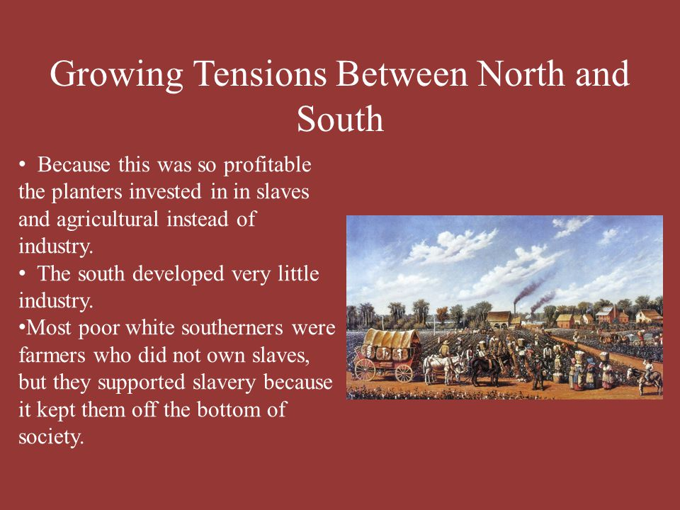 sectional tension between north and south During the 1850s, tensions between the north and south increased as the nation   the kansas-nebraska act caused an inflammation of sectional tensions,.