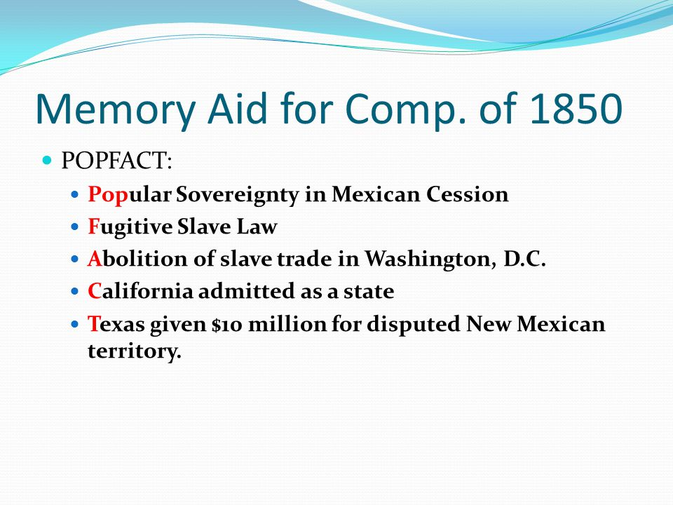 Memory Aid for Comp. of 1850 POPFACT:
