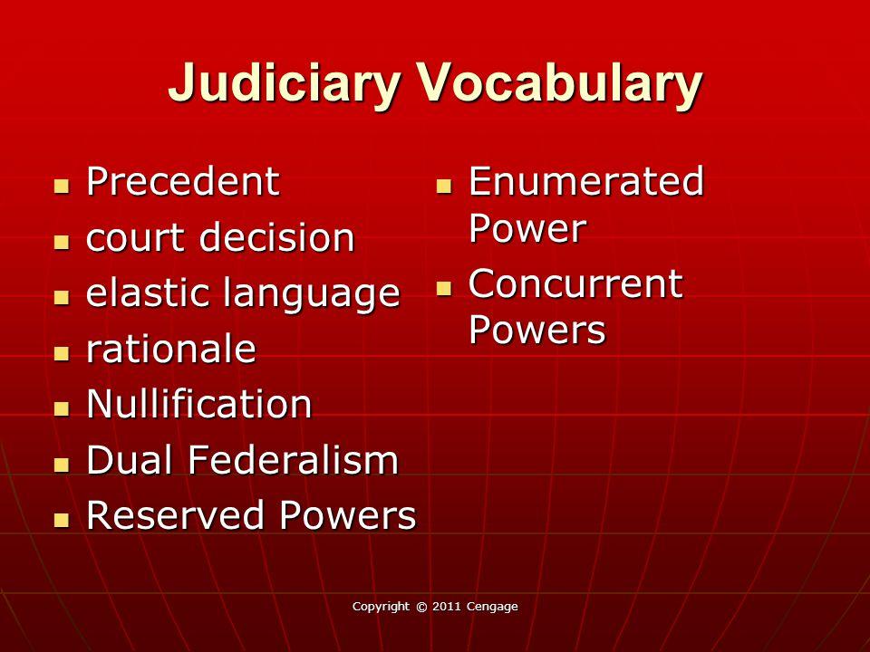 Judiciary Vocabulary Precedent Enumerated Power court decision