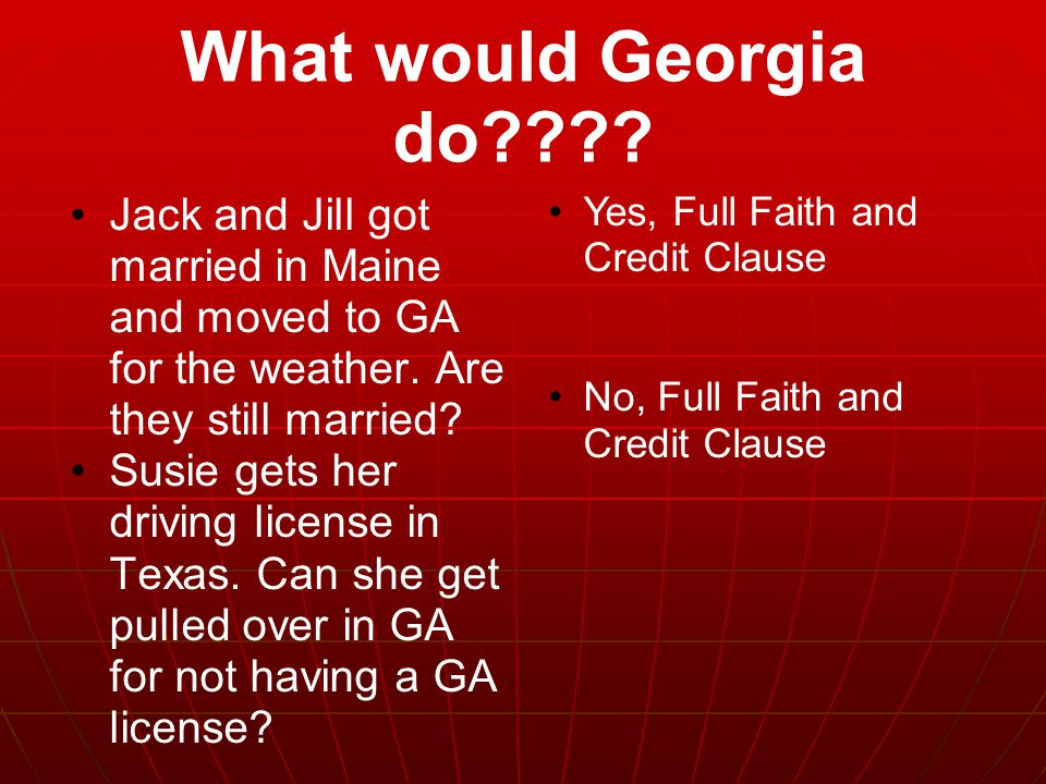 What would Georgia do Jack and Jill got married in Maine and moved to GA for the weather. Are they still married