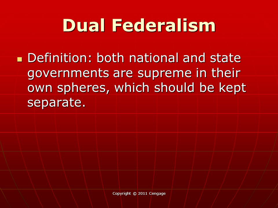 Dual Federalism Definition: both national and state governments are supreme in their own spheres, which should be kept separate.