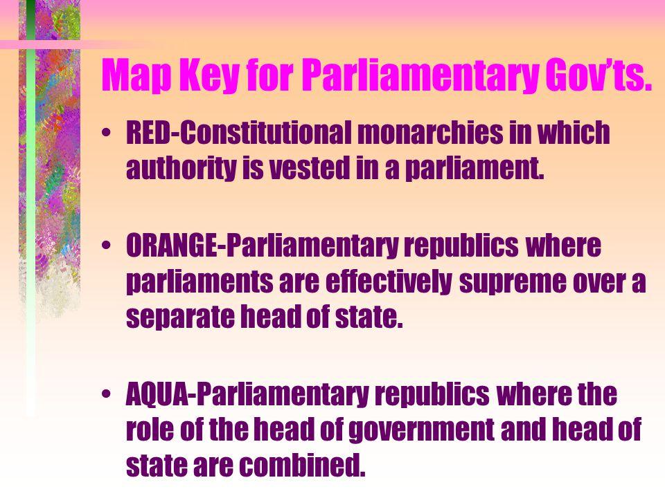 Map Key for Parliamentary Gov'ts.