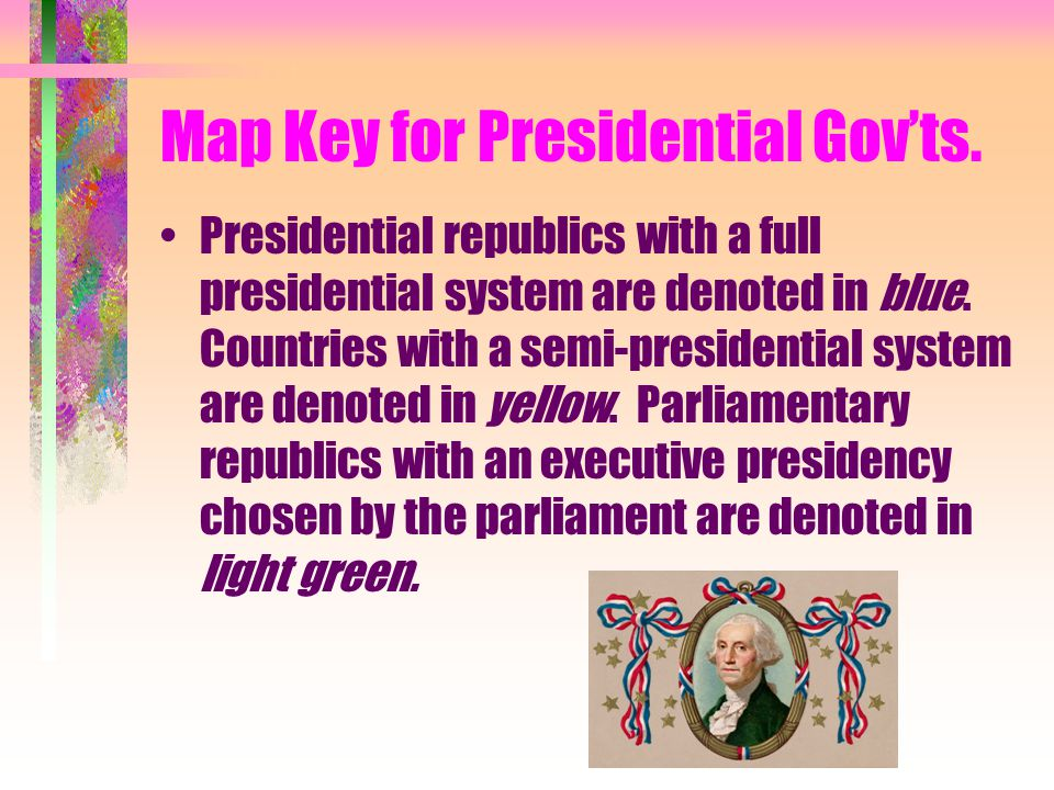 Map Key for Presidential Gov'ts.