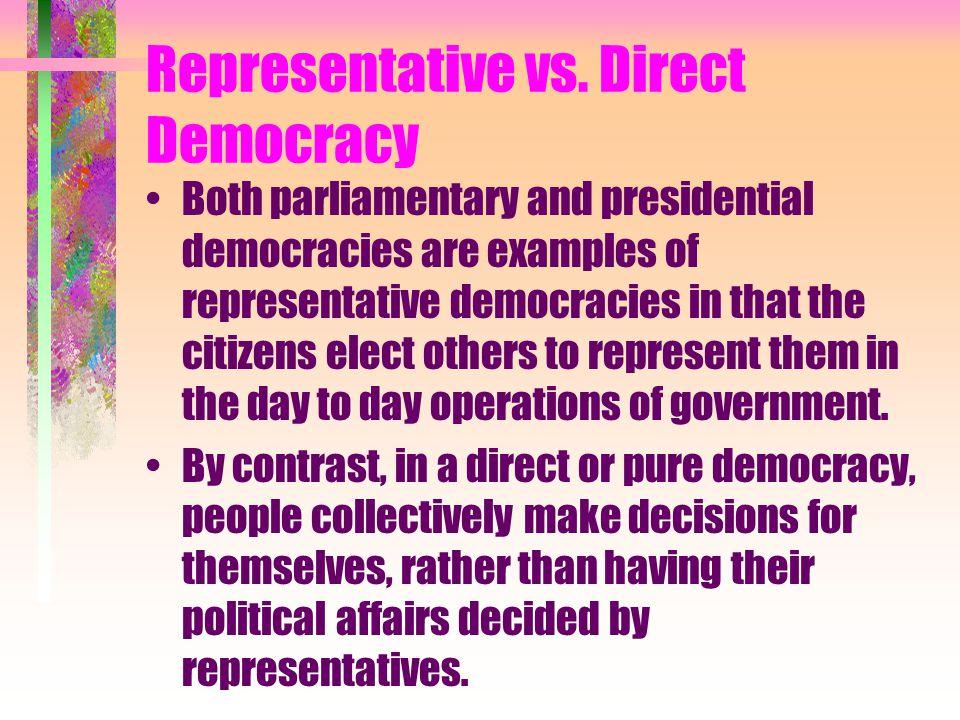 Representative vs. Direct Democracy