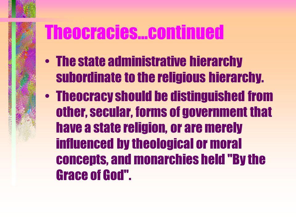 Theocracies…continued