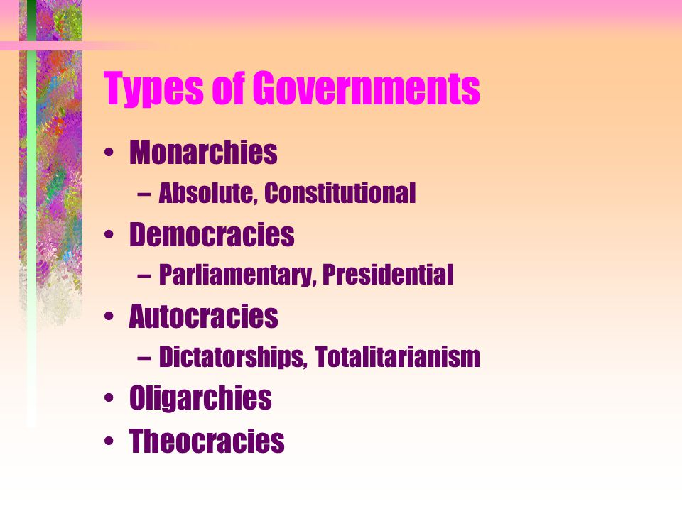 Types of Governments Monarchies Democracies Autocracies Oligarchies