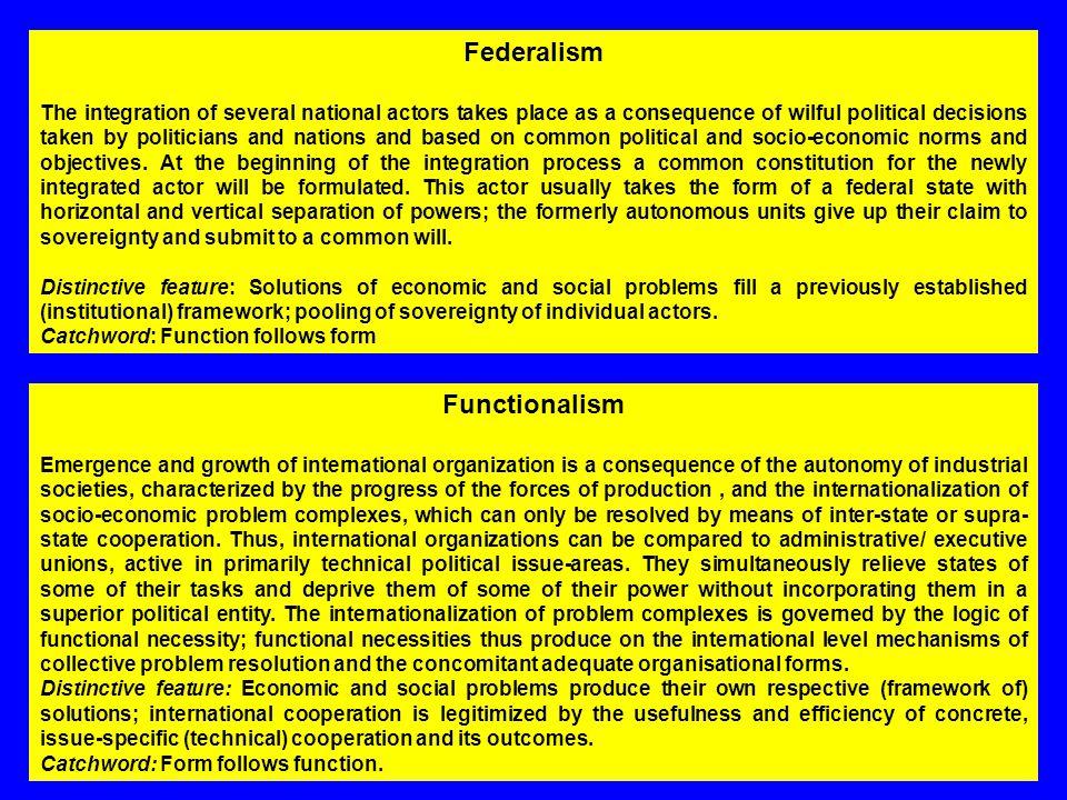 Federalism Functionalism