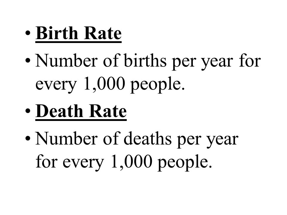 Birth Rate Number of births per year for every 1,000 people.