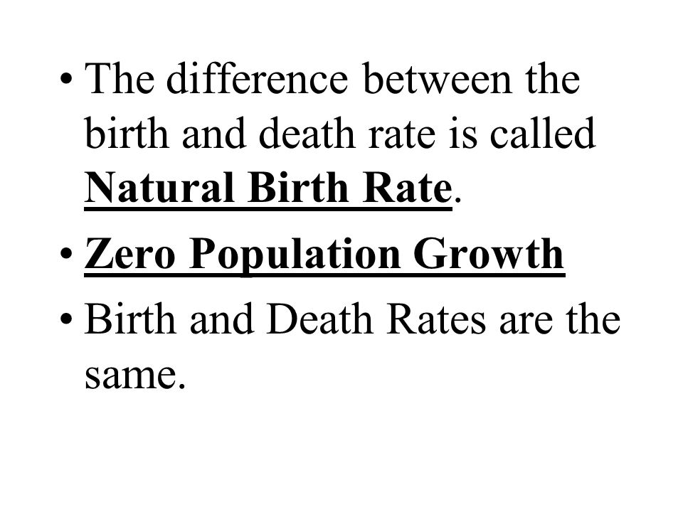 The difference between the birth and death rate is called Natural Birth Rate.
