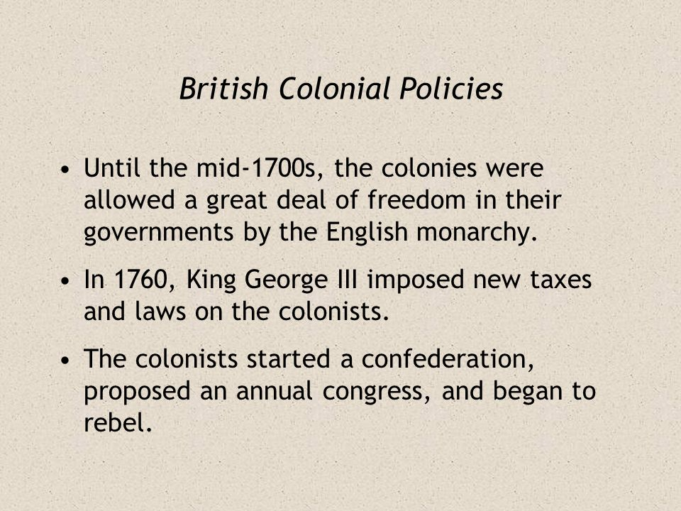 British Colonial Policies