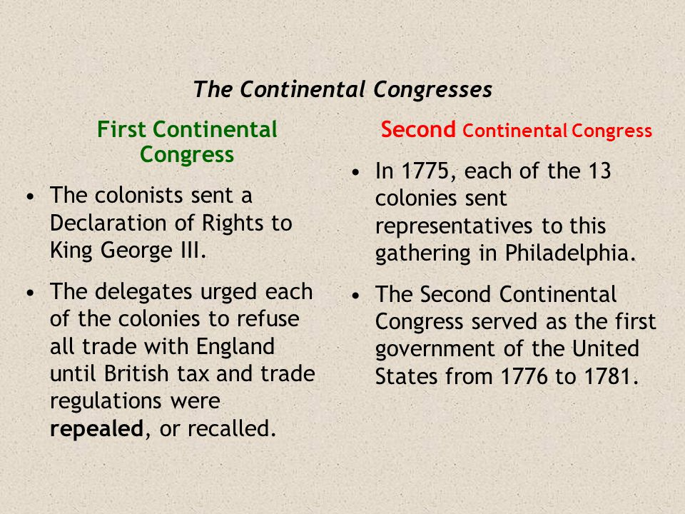 The Continental Congresses