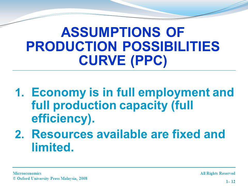 ASSUMPTIONS OF PRODUCTION POSSIBILITIES CURVE (PPC)