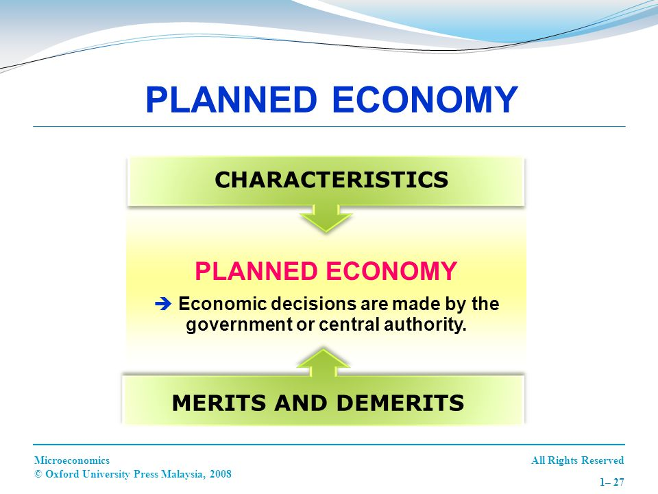  Economic decisions are made by the government or central authority.