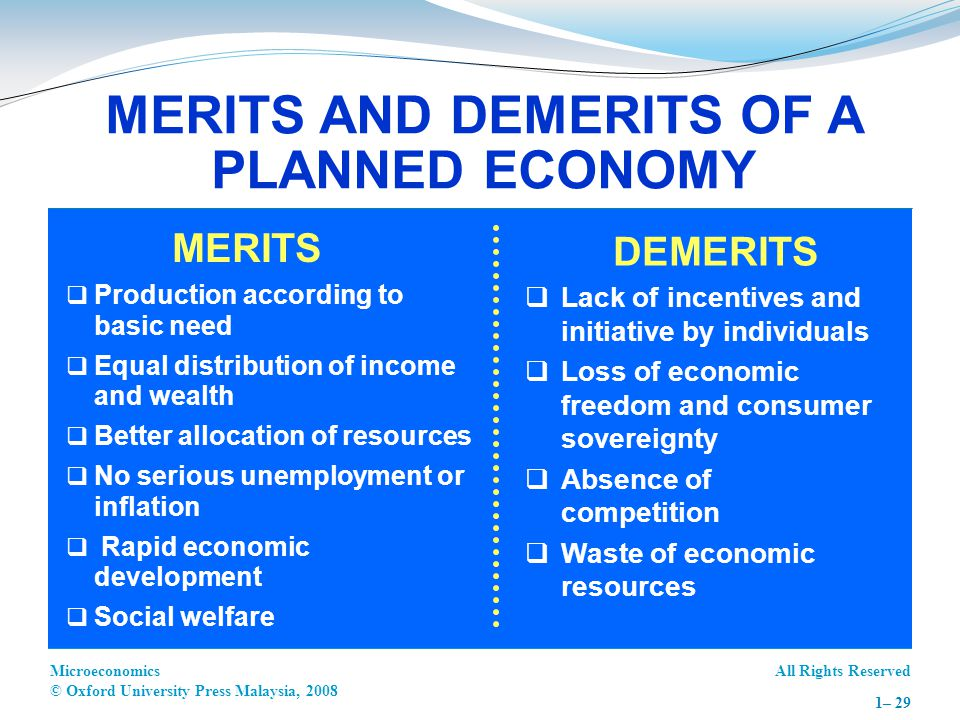MERITS AND DEMERITS OF A PLANNED ECONOMY