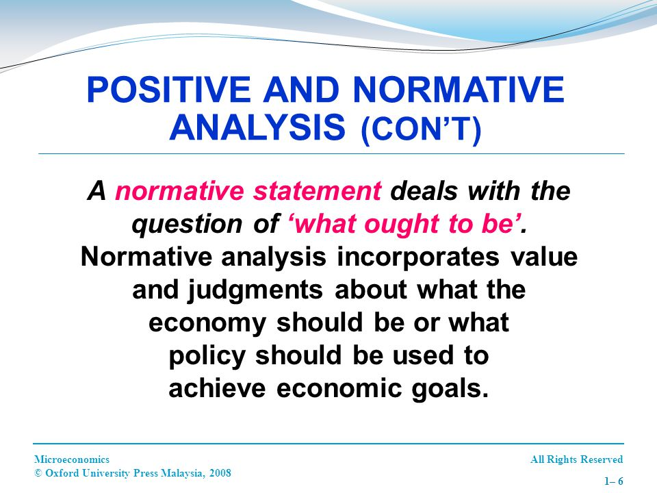 POSITIVE AND NORMATIVE ANALYSIS (CON'T)